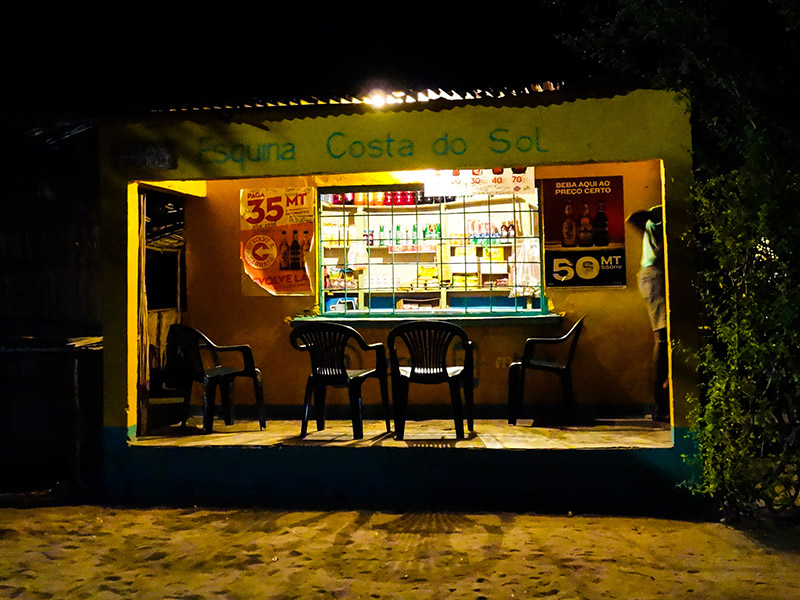 Rural Shop lit up by electric